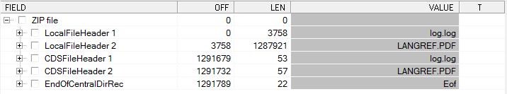 zip-архив в просмотрщике структур
