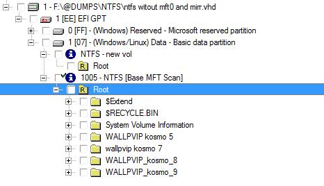 После сканирования MFT удалось увидеть все данные